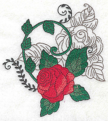 Embroidery Design: Rose Duo B large 4.56w X 4.96h
