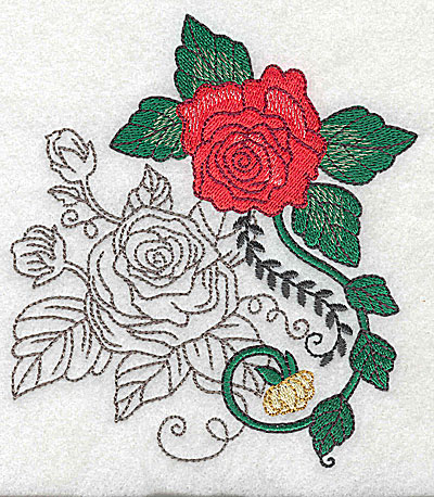 Embroidery Design: Rose Duo C large 4.38w X 4.96h