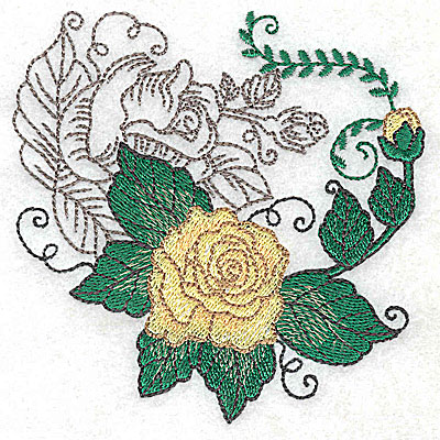 Embroidery Design: Rose Duo D small 3.83w X 3.87h