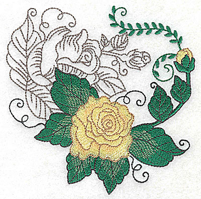 Embroidery Design: Rose Duo D large 4.90w X 4.95h