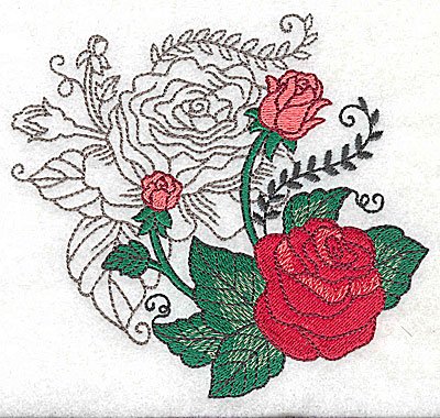 Embroidery Design: Rose Duo E large 4.97w X 4.60h