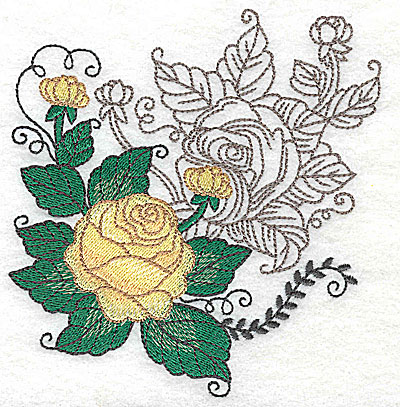 Embroidery Design: Rose Duo G large 4.69w X 4.95h