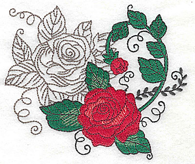 Embroidery Design: Rose Duo H large 4.95w X 4.31h