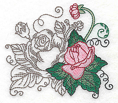 Embroidery Design: Rose Duo I small 3.81w X 3.34h