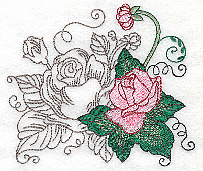 Embroidery Design: Rose Duo I large 4.94w X 4.35h
