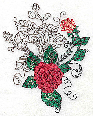 Embroidery Design: Rose Duo J large 3.97w X 4.95h