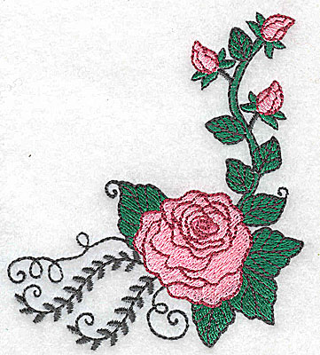 Embroidery Design: Rose A 3.39w X 3.84h