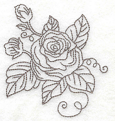 Embroidery Design: Rose C outline 3.28w X 3.50h