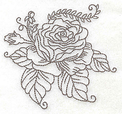 Embroidery Design: Rose E outline  3.87w X 3.64h