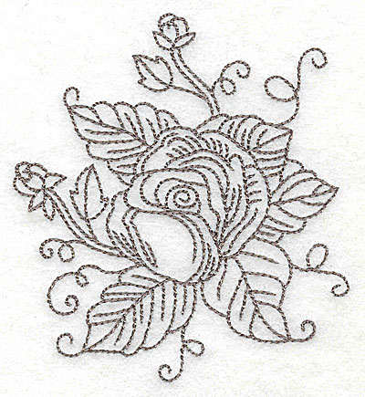 Embroidery Design: Rose J outline 3.59w X 3.75h