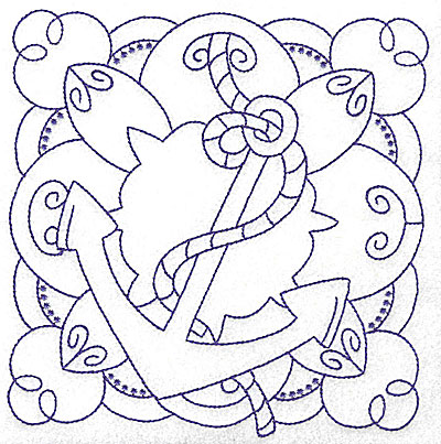 Embroidery Design: Anchor with rope large 6.24w X 6.41h
