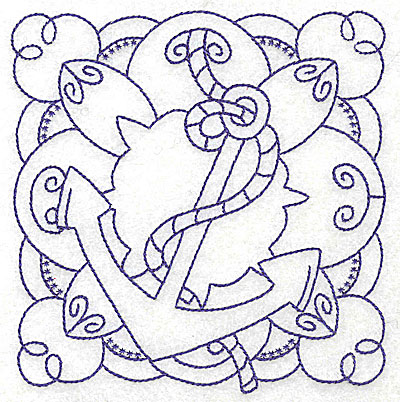 Embroidery Design: Anchor with rope medium 4.80w X 4.94h