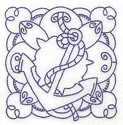Embroidery Design: Anchor with rope small 3.75w X 3.85h