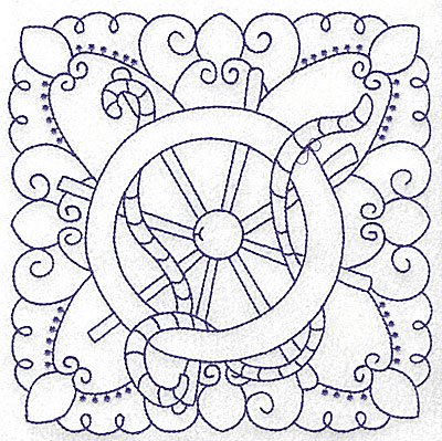 Embroidery Design: Ship's wheel with rope large 6.47w X 6.48h