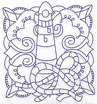 Embroidery Design: Lighthouse with rope large 5.76w X 6.43h