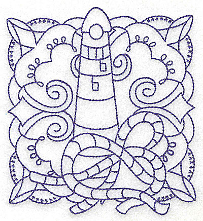 Embroidery Design: Lighthouse with rope medium 4.40w X 4.91h