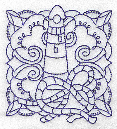 Embroidery Design: Lighthouse with rope small 3.48w X 3.88h