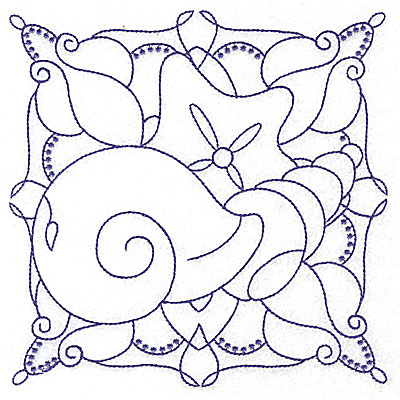 Embroidery Design: Seashell and starfish large 6.40w X 6.41h