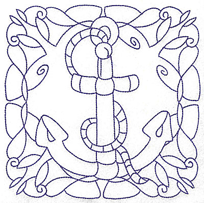 Embroidery Design: Rope and anchor large 6.47w X 6.47h