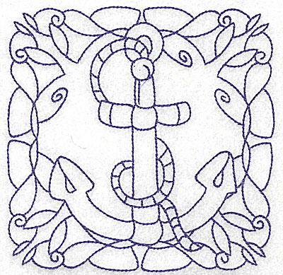 Embroidery Design: Rope and anchor medium 4.98w X 4.98h