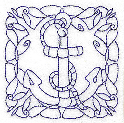 Embroidery Design: Rope and anchor small 3.89w X 3.89h