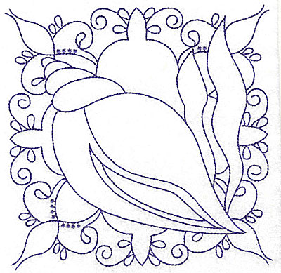 Embroidery Design: Seashell with seaweed large 6.43w X 6.41h