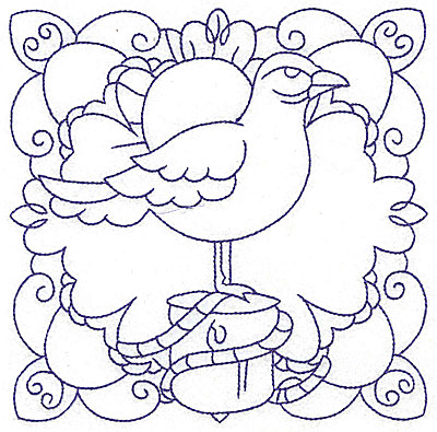 Embroidery Design: Seagull on pier post large 6.46w X 6.46h