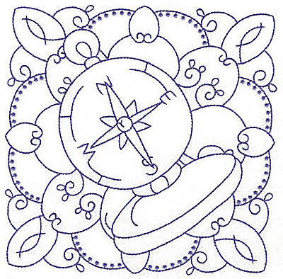 Embroidery Design: Nautical compass large  6.48w X 6.45h