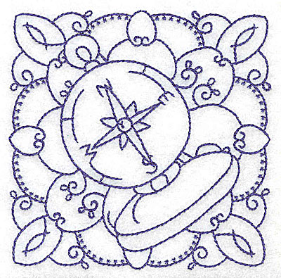 Embroidery Design: Nautical compass small 3.89w X 3.87h