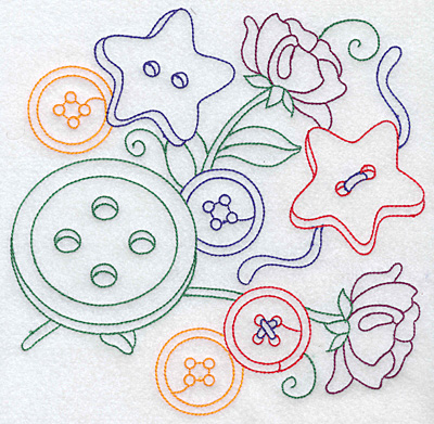 Embroidery Design: Buttons and flowers large 7.63w X 7.56h