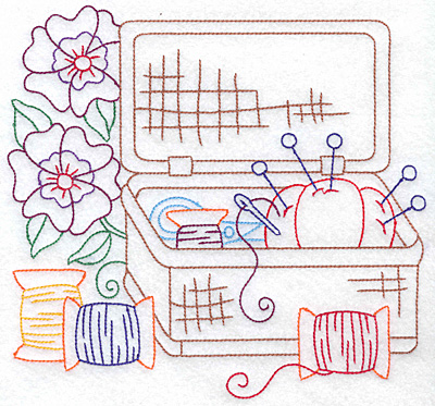 Embroidery Design: Sewing Basket large 7.61w X 7.21h