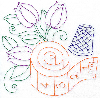 Embroidery Design: Tulips tape measure and thimble large 7.61w X 7.58h