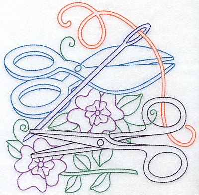 Embroidery Design: Shears scissors and flowers large 7.58w X 7.60h