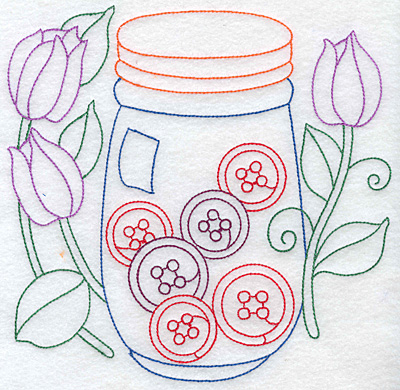 Embroidery Design: Jar of buttons large 7.64w X 7.46h