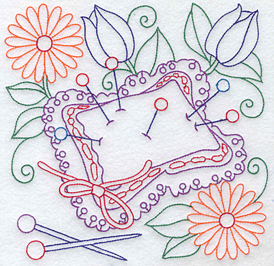 Embroidery Design: Pin cushion and flowers large 7.58w X 7.59h
