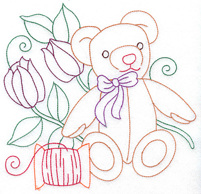 Embroidery Design: Teddy bear spool and flowers large 7.60w X 7.40h