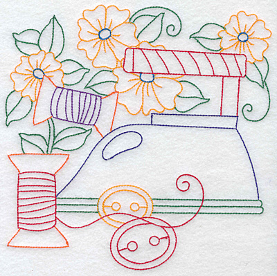 Embroidery Design: Quilting spools and flowers large 7.54w X 7.60h