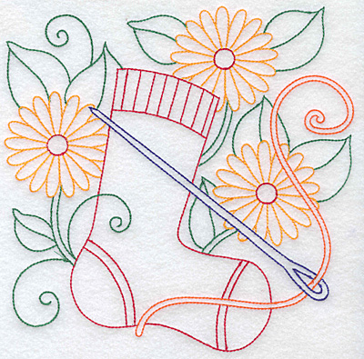 Embroidery Design: Sock needle thread and flowers large  7.62w X 7.55h