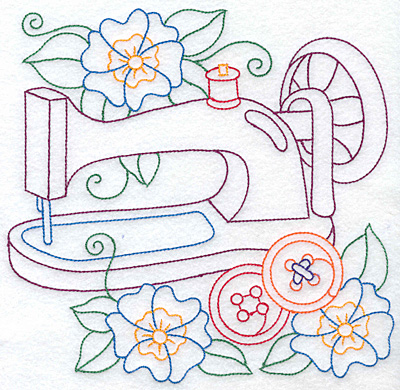 Embroidery Design: Sewing machine and flowers large 7.63w X 7.59h