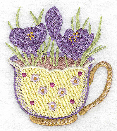 Embroidery Design: Crocus in a cup small 3.06w X 3.46h