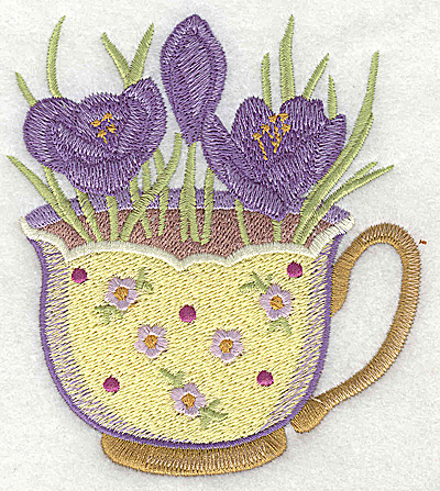 Embroidery Design: Crocus in a cup large 3.97w X 4.49h