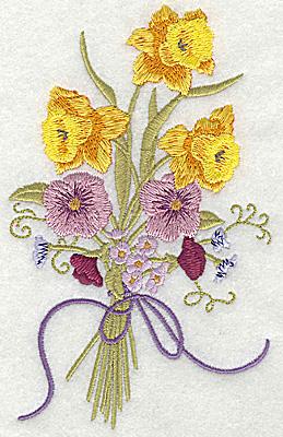 Embroidery Design: Multi floral bouquet large 3.93w X 6.27h