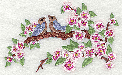 Embroidery Design: Birds on a limb small 4.88w X 3.08h