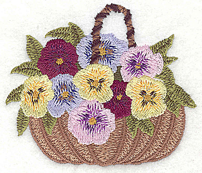 Embroidery Design: Basket of Pansies small 3.71w X 3.17h