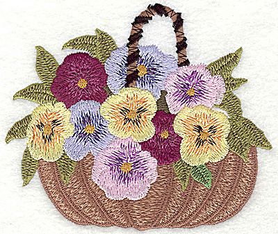 Embroidery Design: Basket of Pansies large 4.82w X 4.12h