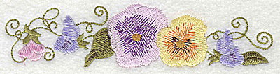 Embroidery Design: Row of Pansies large 6.31w X 1.55h