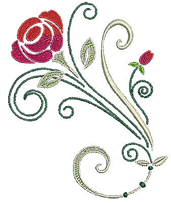 Embroidery Design: Scrollworks rose design 5.70w X 6.97h