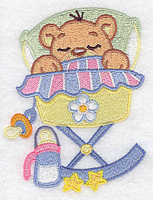 Embroidery Design: Baby bear in cradle small 3.01w X 3.88h