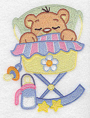 Embroidery Design: Baby bear in cradle large 3.85w X 4.97h