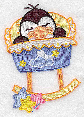 Embroidery Design: Baby bird in cradle small 2.72w X 3.89h